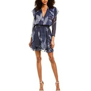 Halston V Neck Flutter Printed Dress NWT
